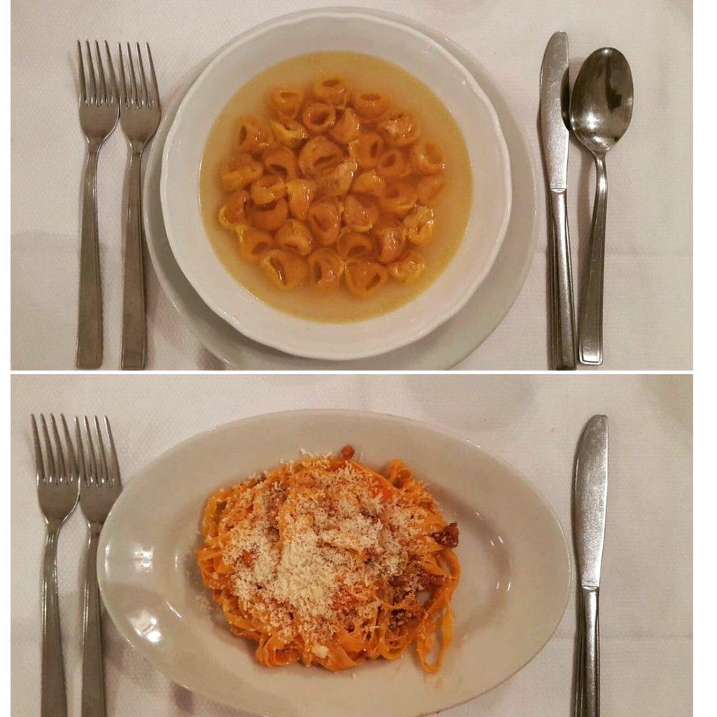 Yukarıdan aşağıya: Tortellini con brodo ve Tagliatelle ragu sos