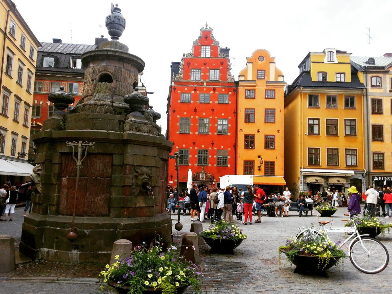 Stockholm'deki tarihi Gamla Stan(Eski Şehir) Meydanı.